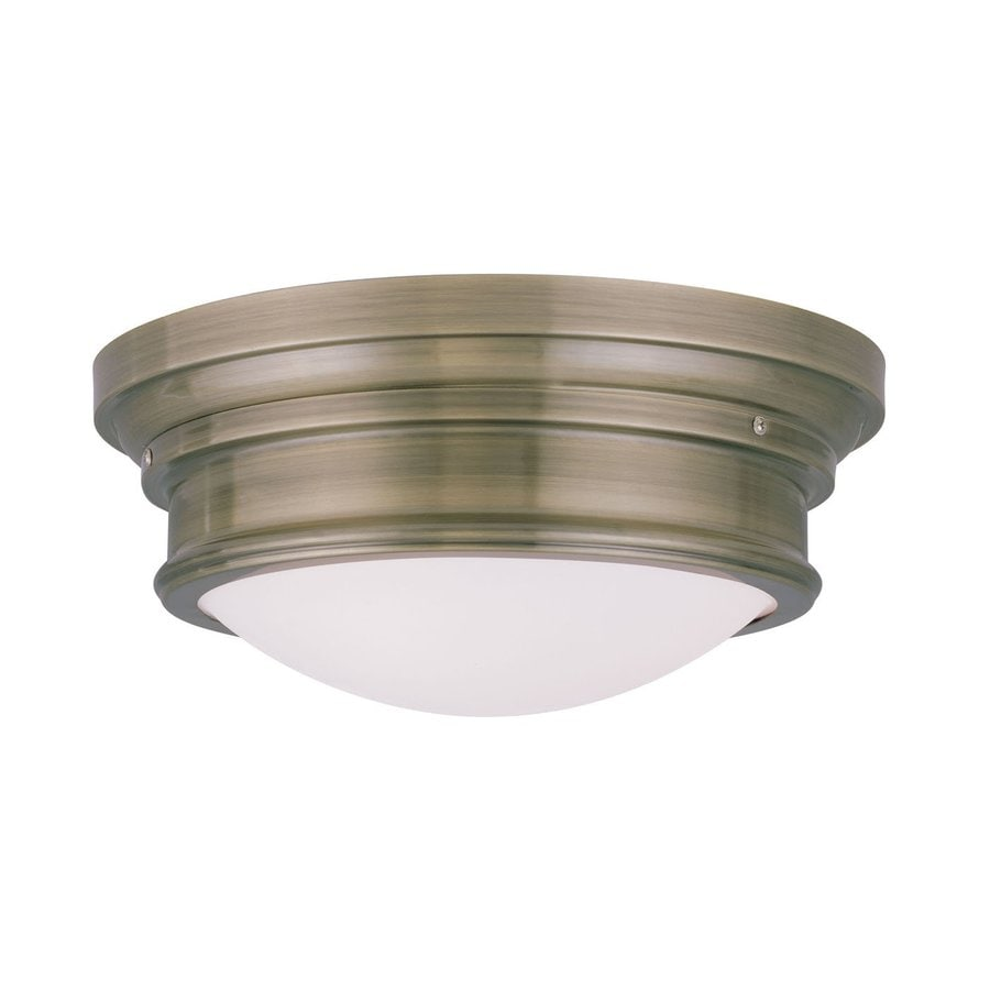 Livex Lighting Astor 15.5-in W Antique Brass Flush Mount Light