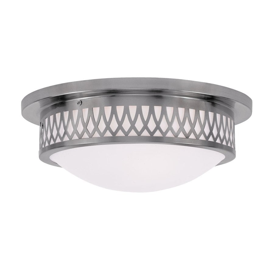 Livex Lighting Westfield 15-in W Brushed Nickel Ceiling Flush Mount Light