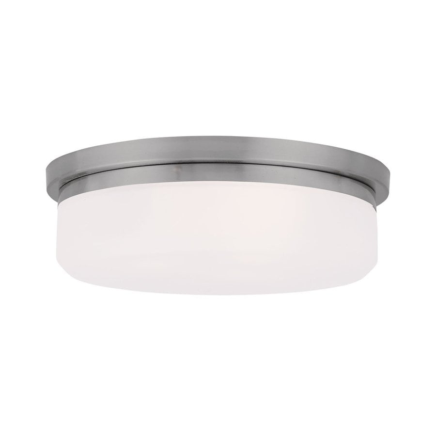 Livex Lighting Stratus 13-in W Brushed Nickel Ceiling Flush Mount Light