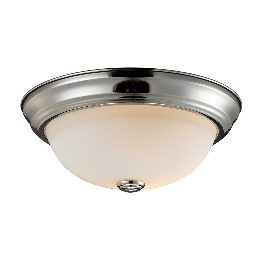 Z-Lite Athena 13-in W Satin nickel Flush Mount Light