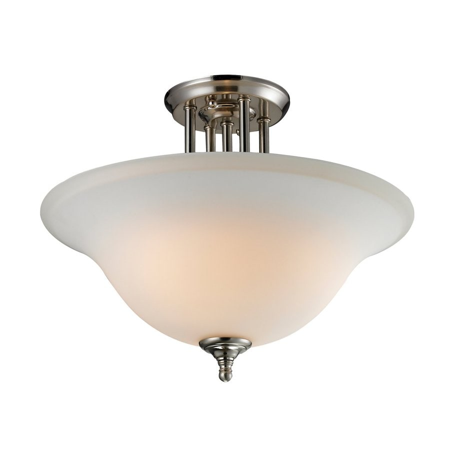 Z-Lite Athena 15.75-in W Satin Nickel Opalescent Glass Semi-Flush Mount Light