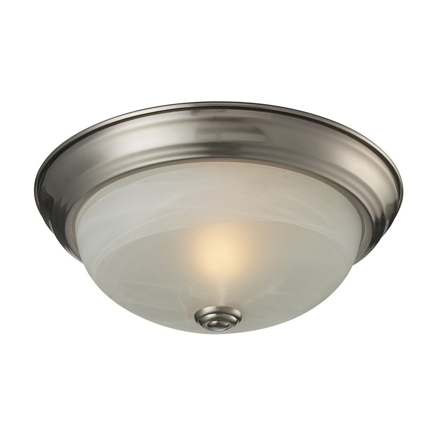 Z-Lite Athena 11.25-in W Satin Nickel Flush Mount Light