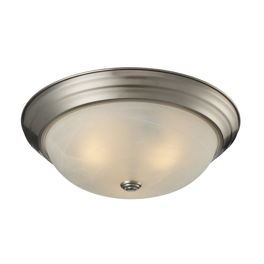 Z-Lite Athena 15-in W Satin Nickel Flush Mount Light