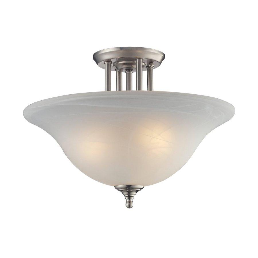 Z-Lite Athena 15.75-in W Satin Nickel Frosted Glass Semi-Flush Mount Light