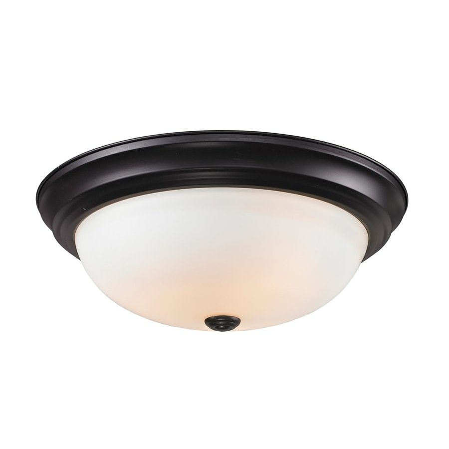Z-Lite Athena 15-in W Bronze Flush Mount Light