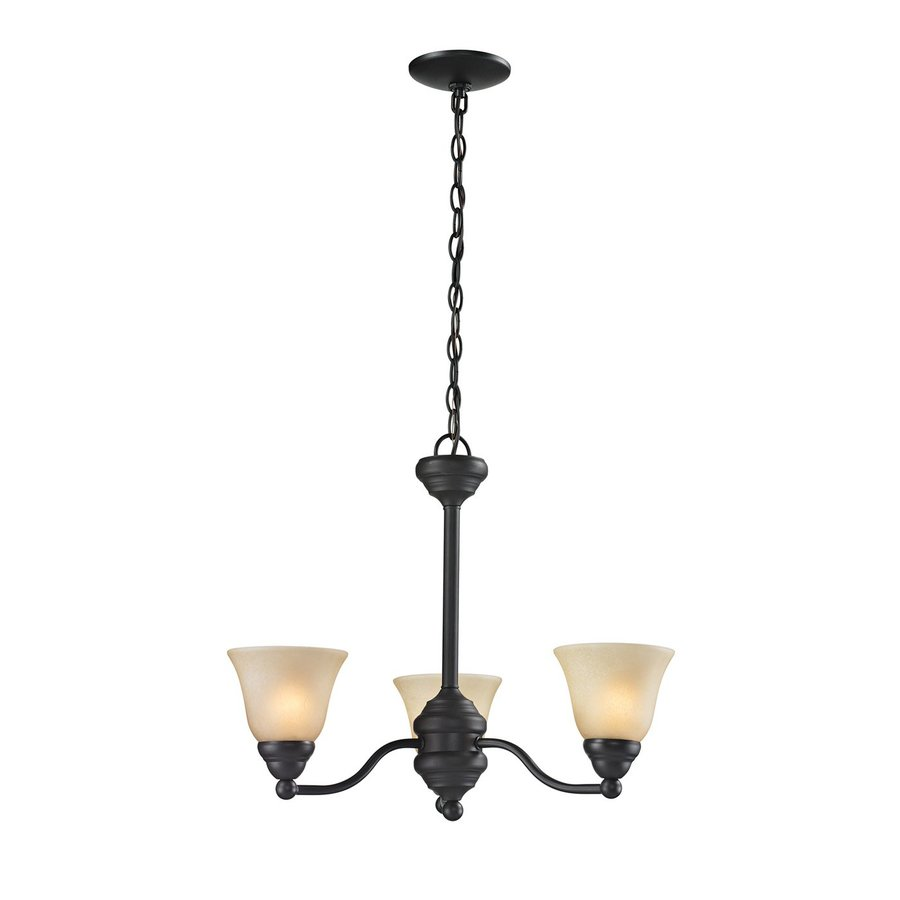 Z-Lite Athena 20-in 3-Light Bronze Tinted Glass Shaded Chandelier