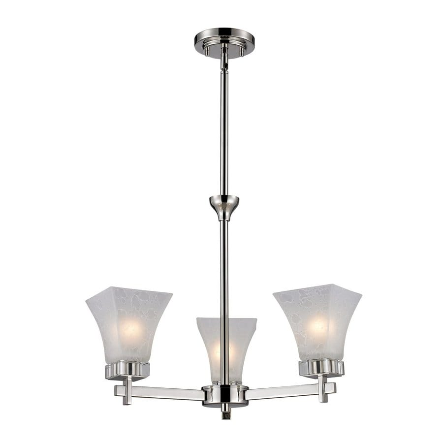 Z-Lite Pershing 17-in 3-Light Polished Nickel Shaded Chandelier