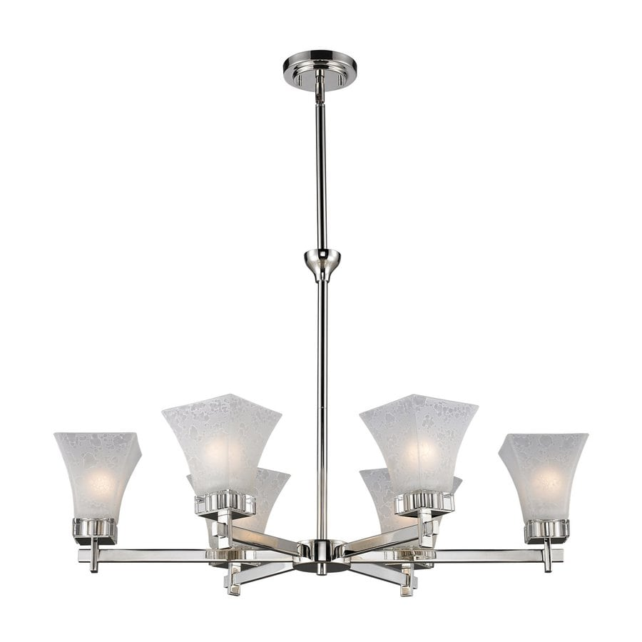 Z-Lite Pershing 32.13-in 6-Light Polished Nickel Shaded Chandelier