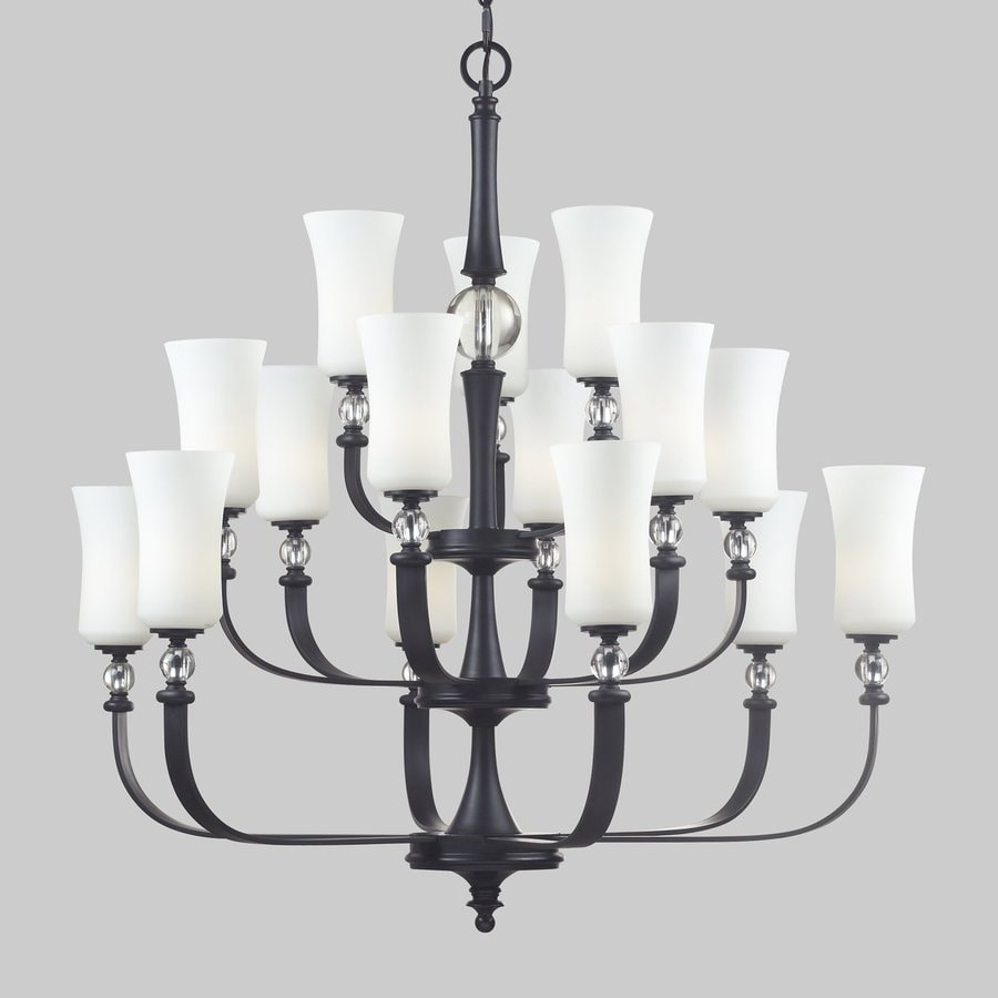 Z-Lite Harmony 39.5-in 15-Light Matte Black Wrought Iron Tiered Chandelier