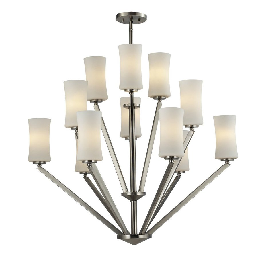 Z-Lite Elite 36-in 12-Light Brushed Nickel Tiered Chandelier