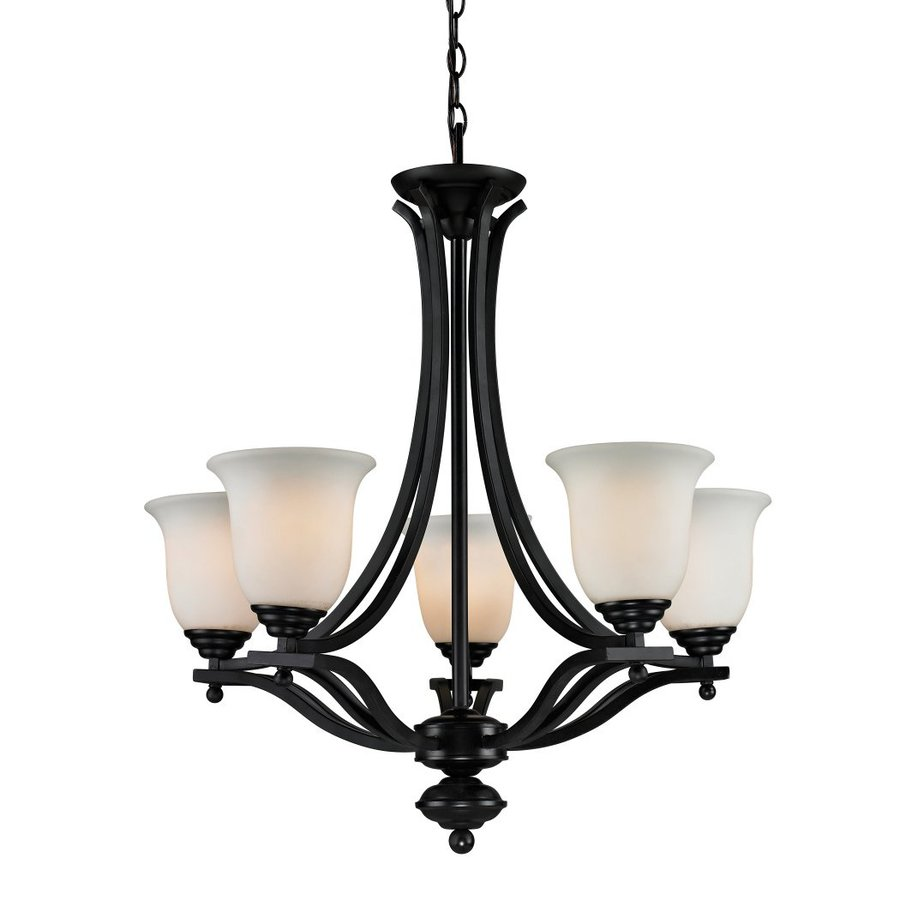 Z-Lite Lagoon 26.5-in 5-Light Bronze Wrought Iron Shaded Chandelier