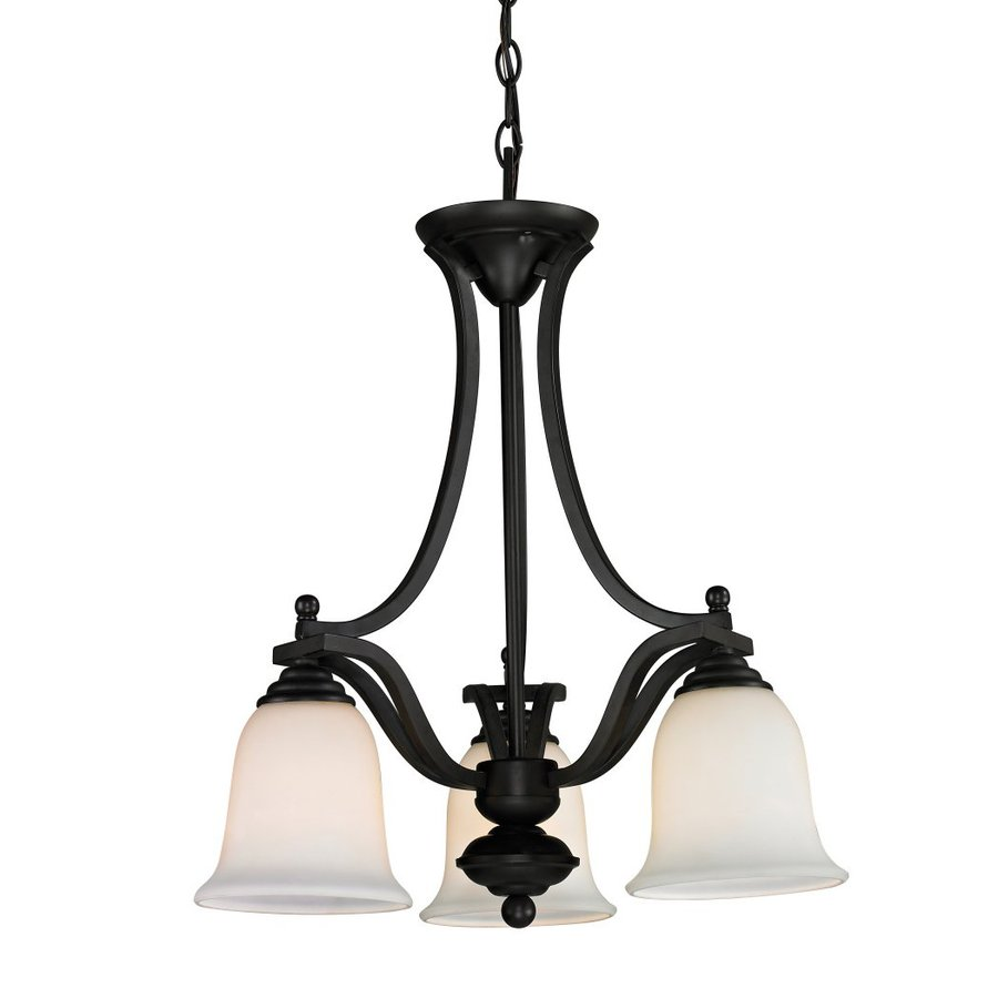 Z-Lite Lagoon 20-in 3-Light Matte Black Wrought Iron Shaded Chandelier