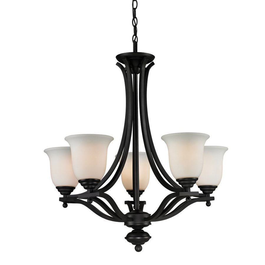 Z-Lite Lagoon 26.5-in 5-Light Matte black Wrought Iron Shaded Chandelier  sc 1 st  Loweu0027s & Shop Z-Lite Lagoon 26.5-in 5-Light Matte black Wrought Iron Shaded ...