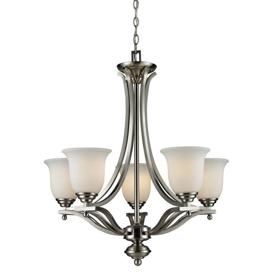Z-Lite Lagoon 26.5-in 5-Light Brushed Nickel Shaded Chandelier