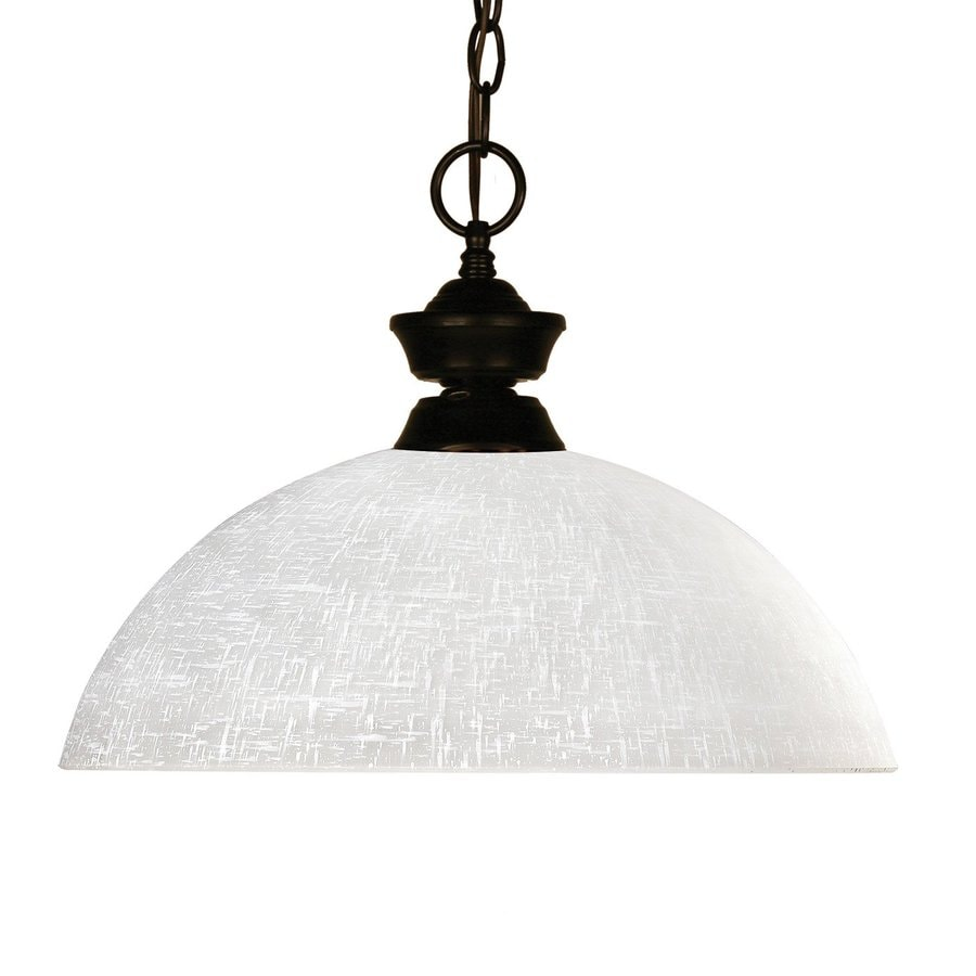 Z-Lite Riviera 14-in Bronze Single Textured Glass Dome Pendant