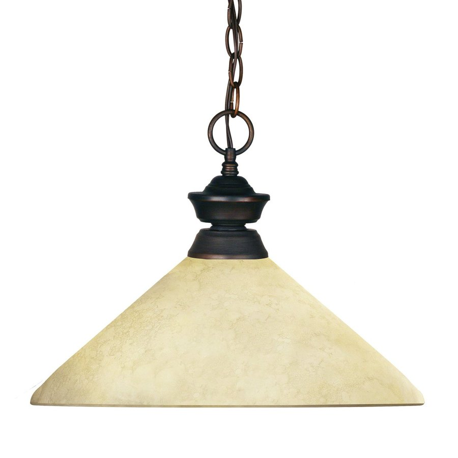 Z-Lite Riviera 14-in Olde Bronze Single Tinted Glass Cone Pendant