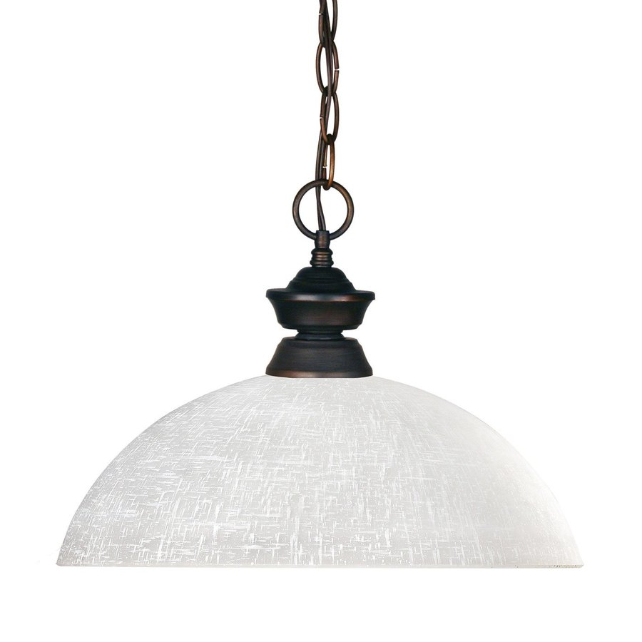 Z-Lite Riviera 14-in Olde Bronze Single Textured Glass Dome Pendant