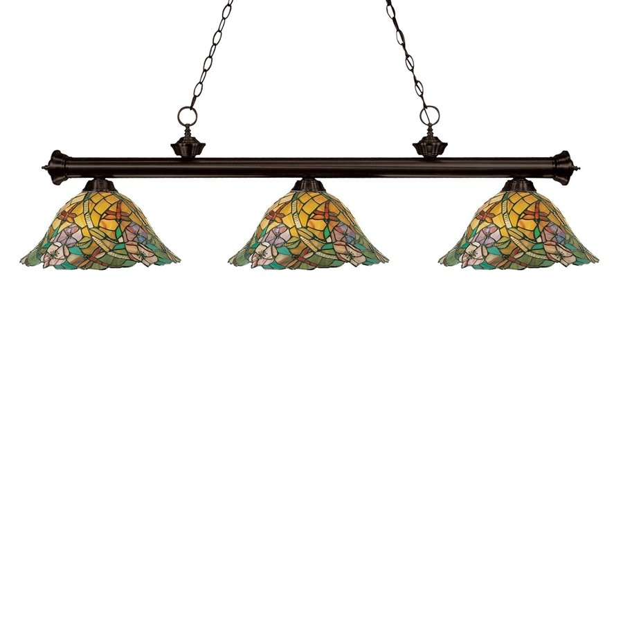 Z-Lite Eden 14-in W 3-Light Bronze Kitchen Island Light with Tiffany-Style Shades