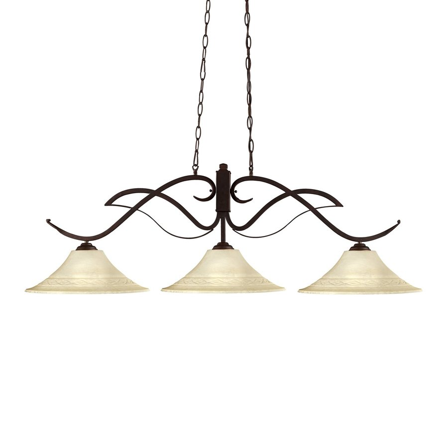 Z-Lite Phoenix 16-in W 3-Light Bronze Kitchen Island Light with Tinted Shade
