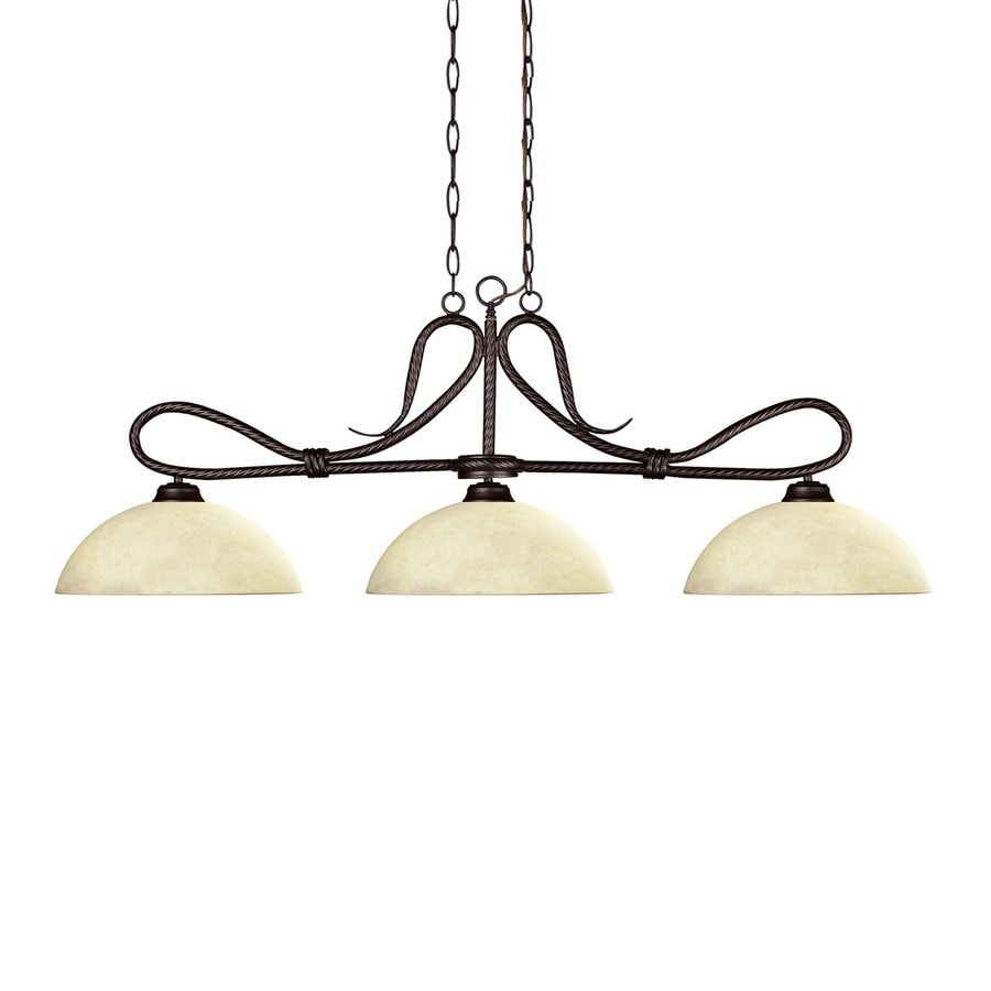 Z-Lite Cobra 14-in W 3-Light Bronze Kitchen Island Light with Tinted Shade