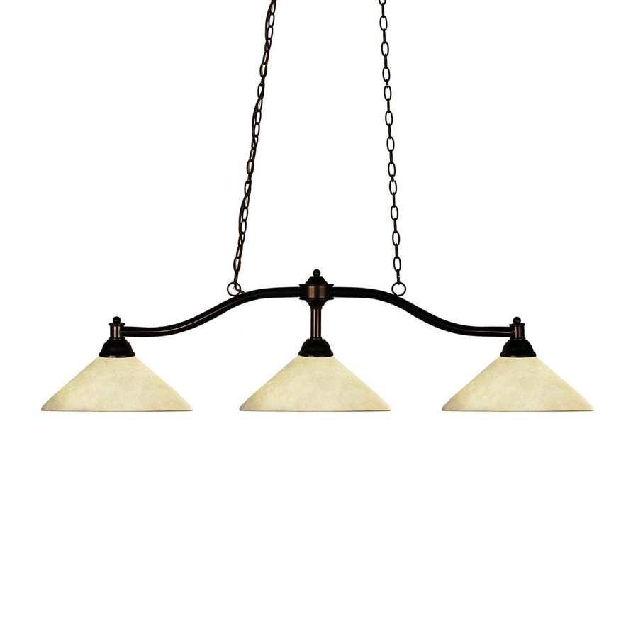 Z-Lite Chance 14-in W 3-Light Bronze Kitchen Island Light with Tinted Shade