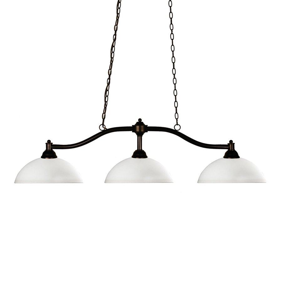 Z-Lite Chance 14-in W 3-Light Bronze Kitchen Island Light with White Shade