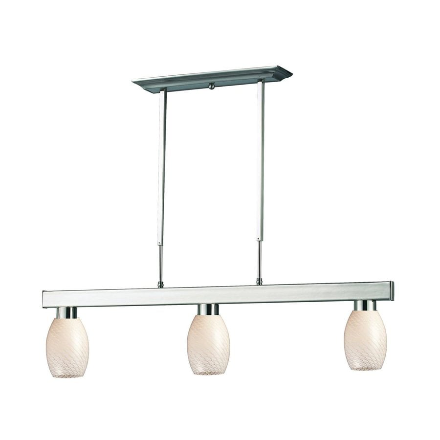 Z-Lite Cobalt 5-in W 3-Light Brushed Nickel Kitchen Island Light with White Shade