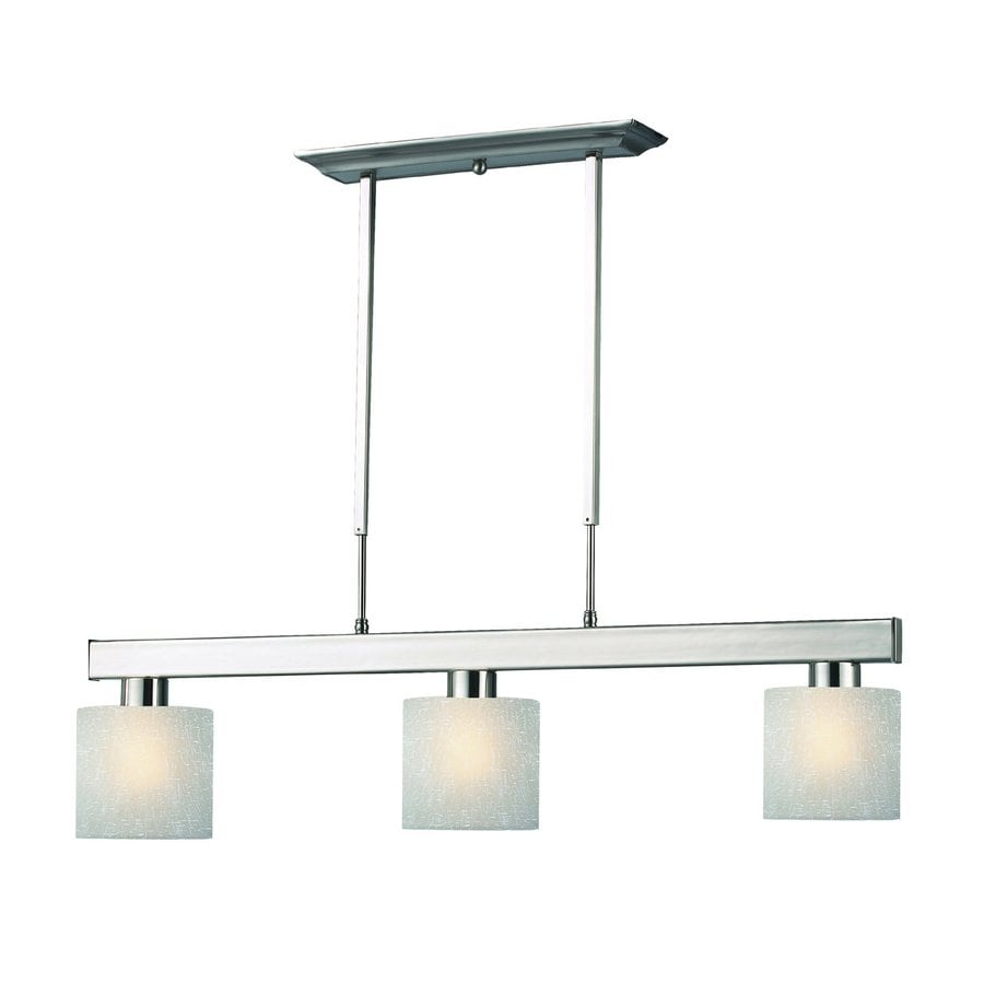 Z-Lite Cobalt 6-in W 3-Light Brushed Nickel Kitchen Island Light with White Shade