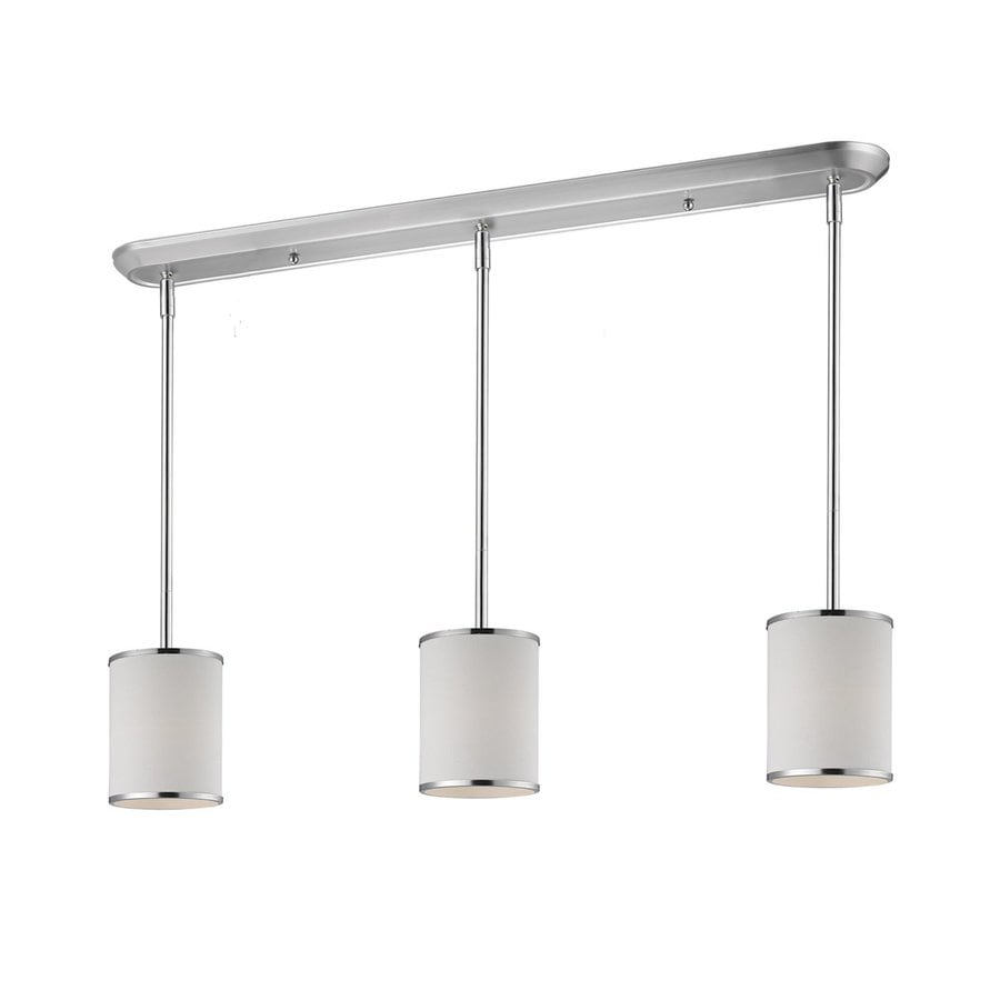 Z-Lite Cameo 6-in W 3-Light Chrome Kitchen Island Light with Fabric Shade