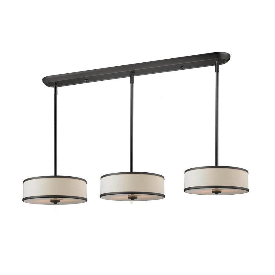 Z-Lite Cameo 16-in W 9-Light Bronze Kitchen Island Light with Fabric Shade
