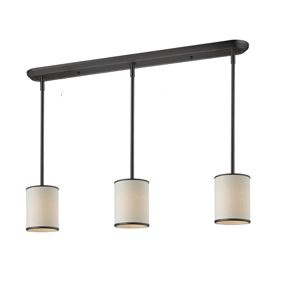 Shop Z Lite Cameo 6 In W 3 Light Bronze Kitchen Island Light With Fabric Shade At