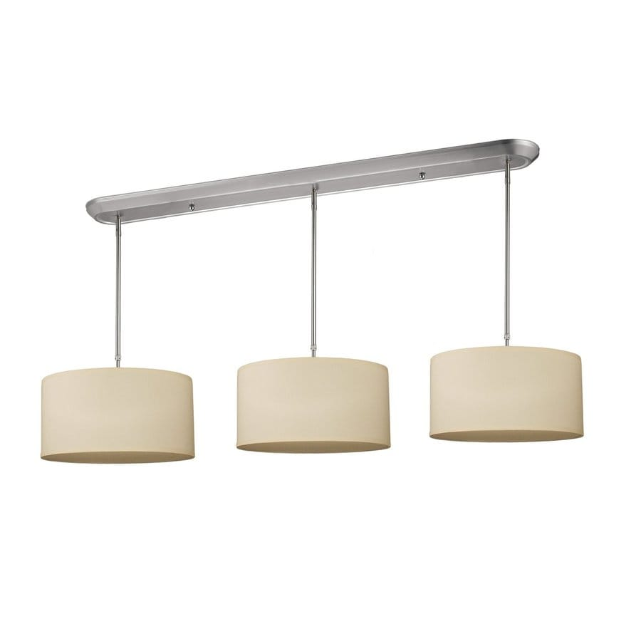 Z-Lite Albion 60-in W 9-Light Brushed Nickel Kitchen Island Light with Fabric Shade