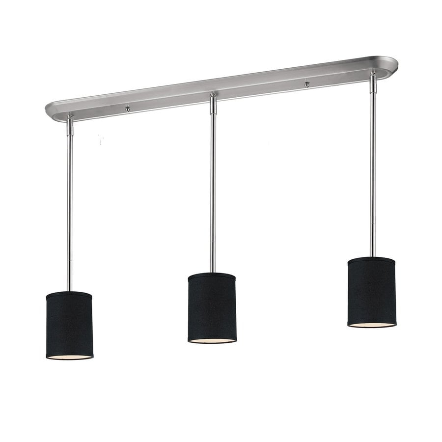 Z-Lite Albion 48-in W 3-Light Brushed Nickel Kitchen Island Light with Fabric Shades