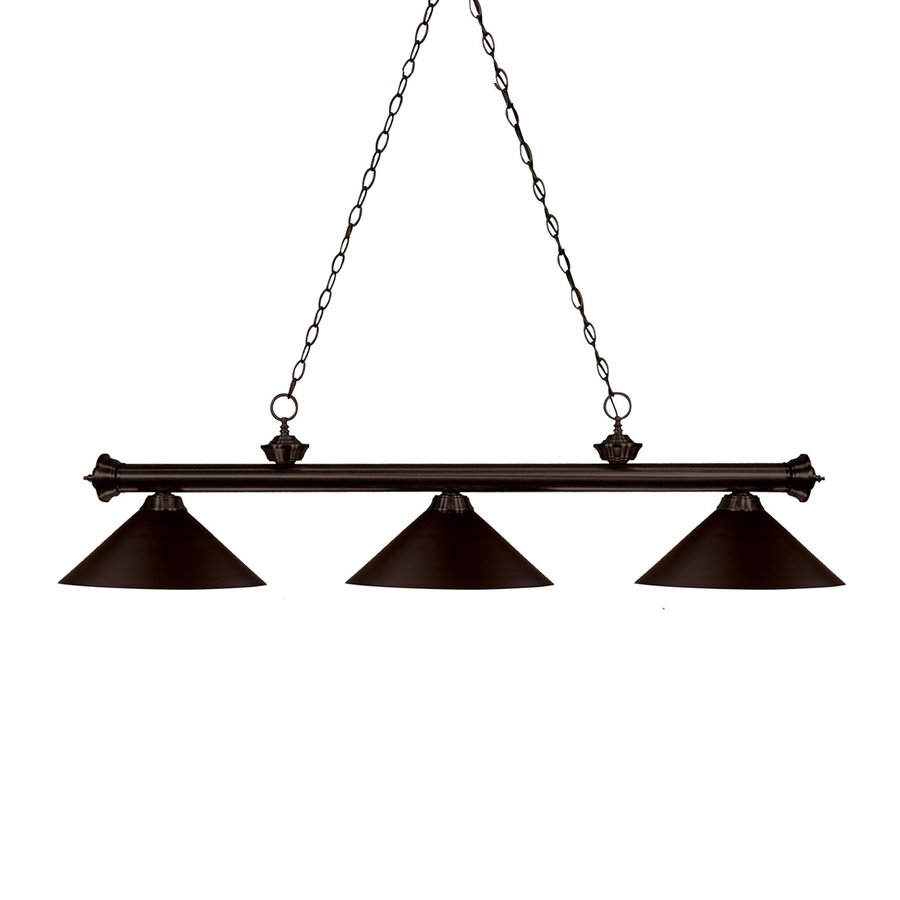 Z-Lite Riviera 14-in W 3-Light Bronze Kitchen Island Light with Tinted Shade