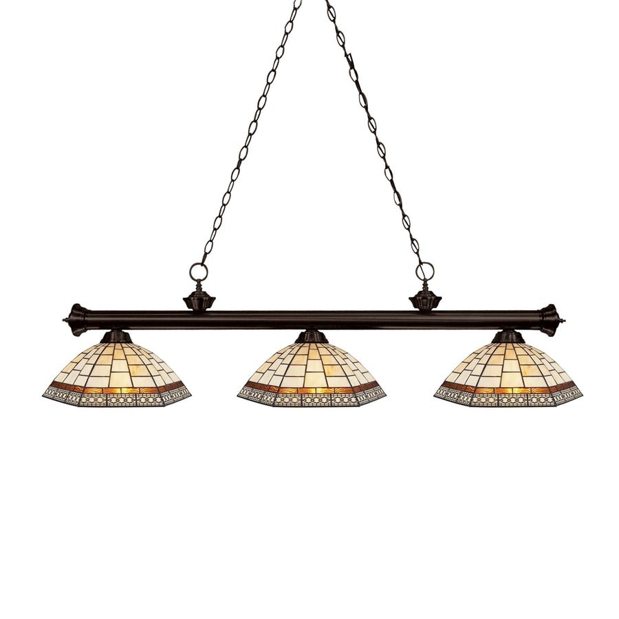 Z-Lite Riviera 14-in W 3-Light Bronze Kitchen Island Light with Tiffany-Style Shade