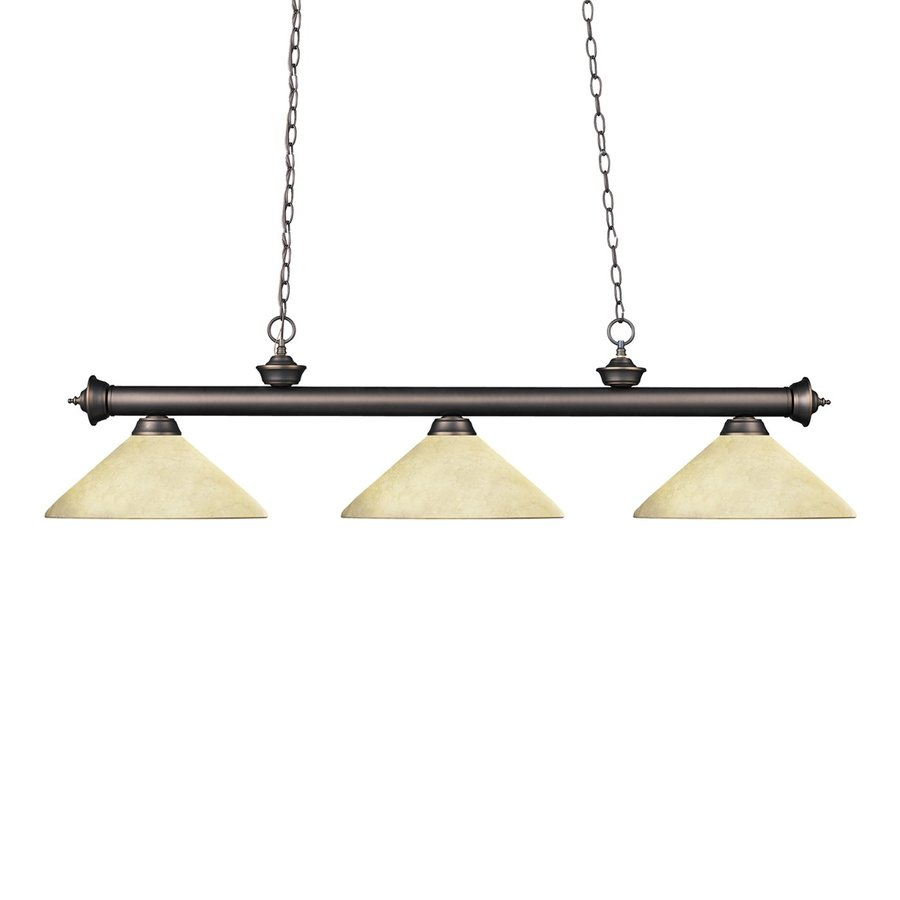 Z-Lite Riviera 14-in W 3-Light Olde Bronze Kitchen Island Light with Tinted Shade