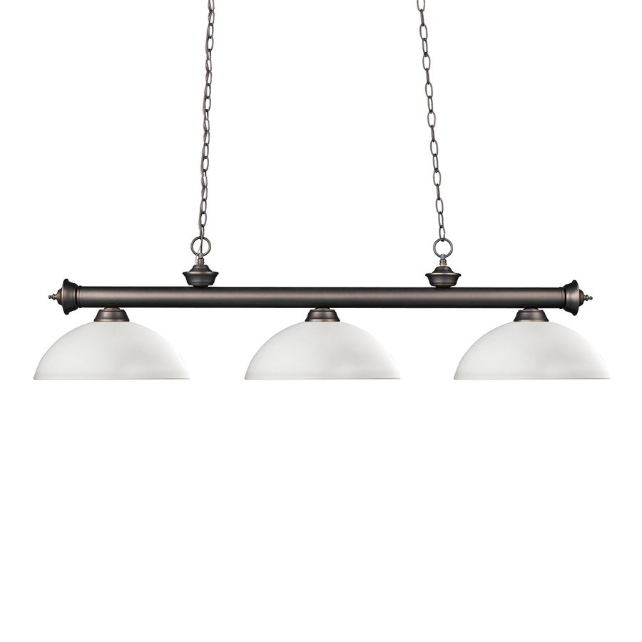 Z-Lite Riviera 14-in W 3-Light Olde Bronze Kitchen Island Light with White Shade