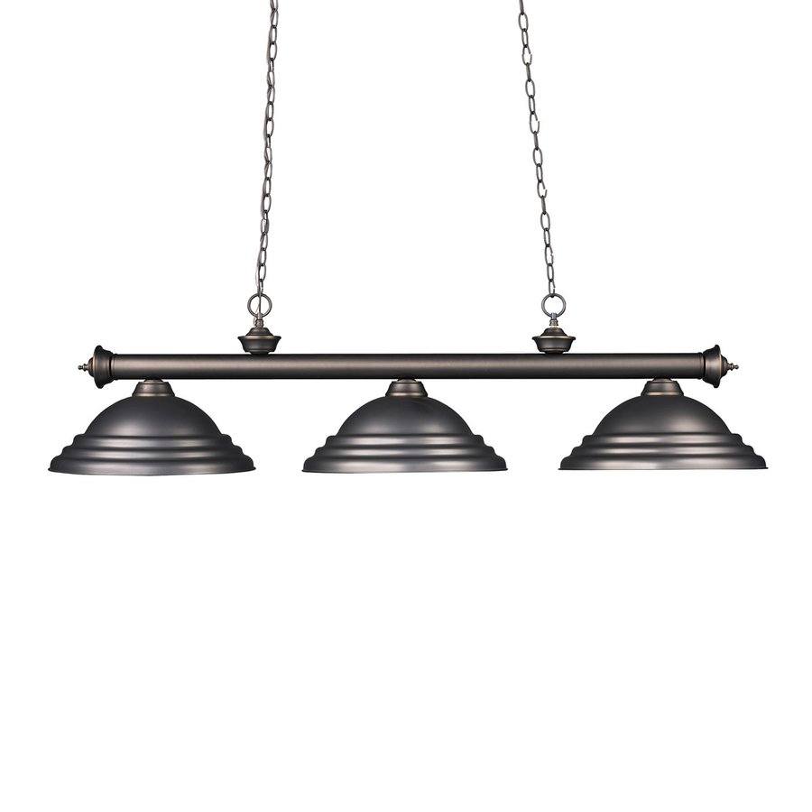 Z-Lite Riviera 16-in W 3-Light Olde Bronze Kitchen Island Light with Textured Shade