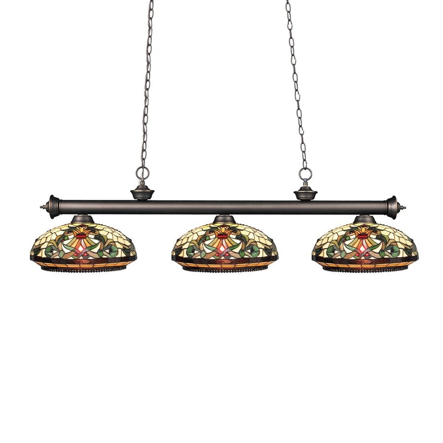Z-Lite Riviera 14-in W 3-Light Olde Bronze Kitchen Island Light with Tiffany-Style Shade