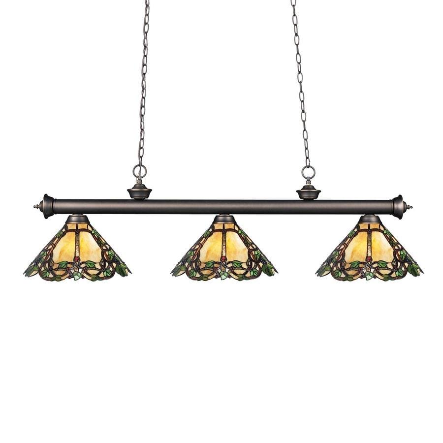 Z-Lite Riviera 14-in W 3-Light Olde Bronze Kitchen Island Light with Tiffany-Style Shade