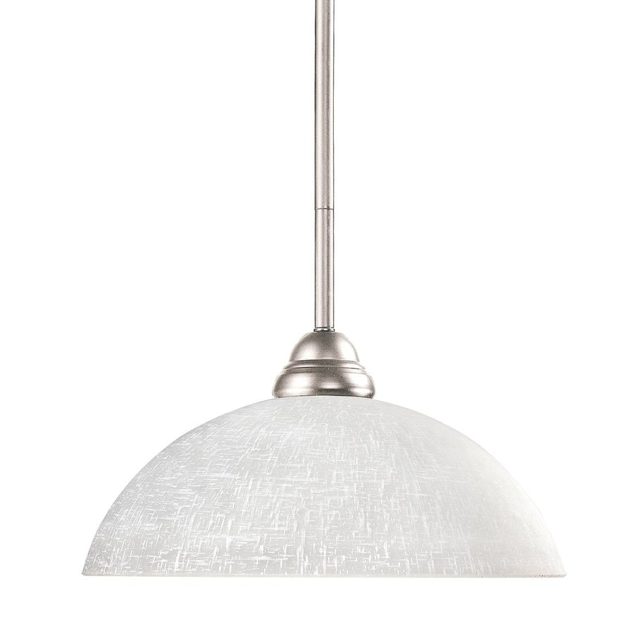 Z-Lite Riviera 14-in Brushed Nickel Single Textured Glass Dome Pendant