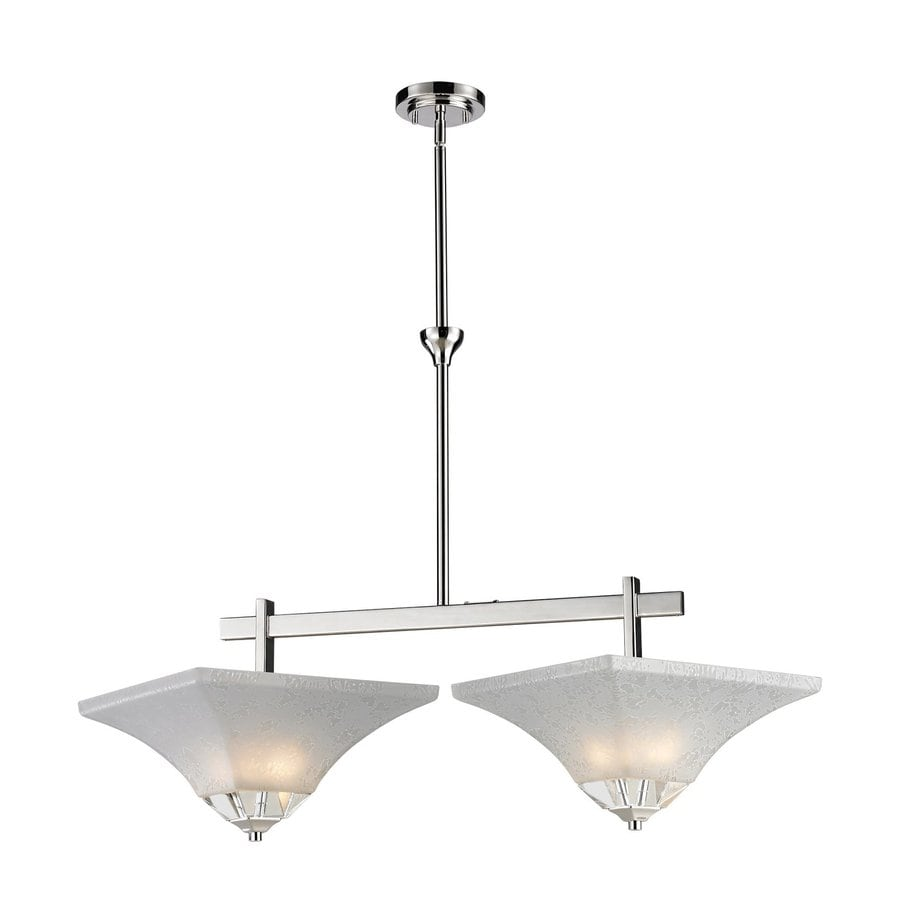 Z-Lite Pershing 18.5-in W 2-Light Polished Nickel Crystal Accent Kitchen Island Light with White Shade