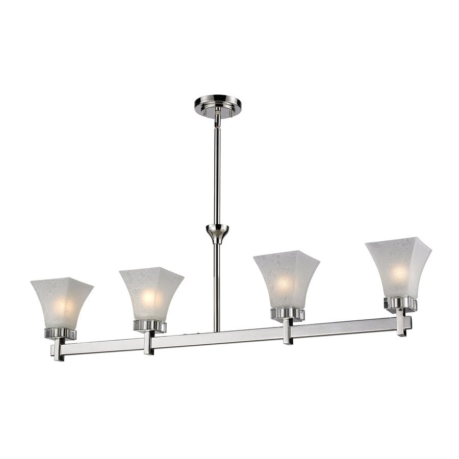 Z-Lite Pershing 5-in W 4-Light Polished Nickel Crystal Accent Kitchen Island Light with White Shade