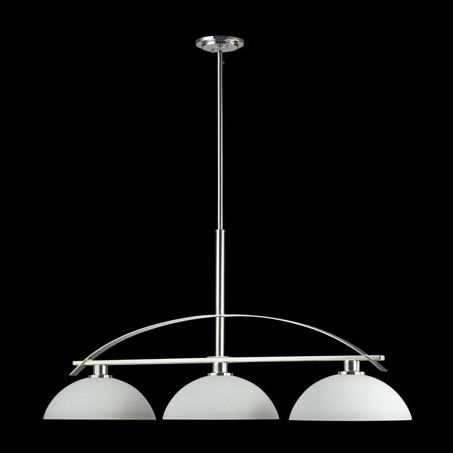 Z-Lite Ellipse 13.5-in W 3-Light Chrome Kitchen Island Light with White Shade