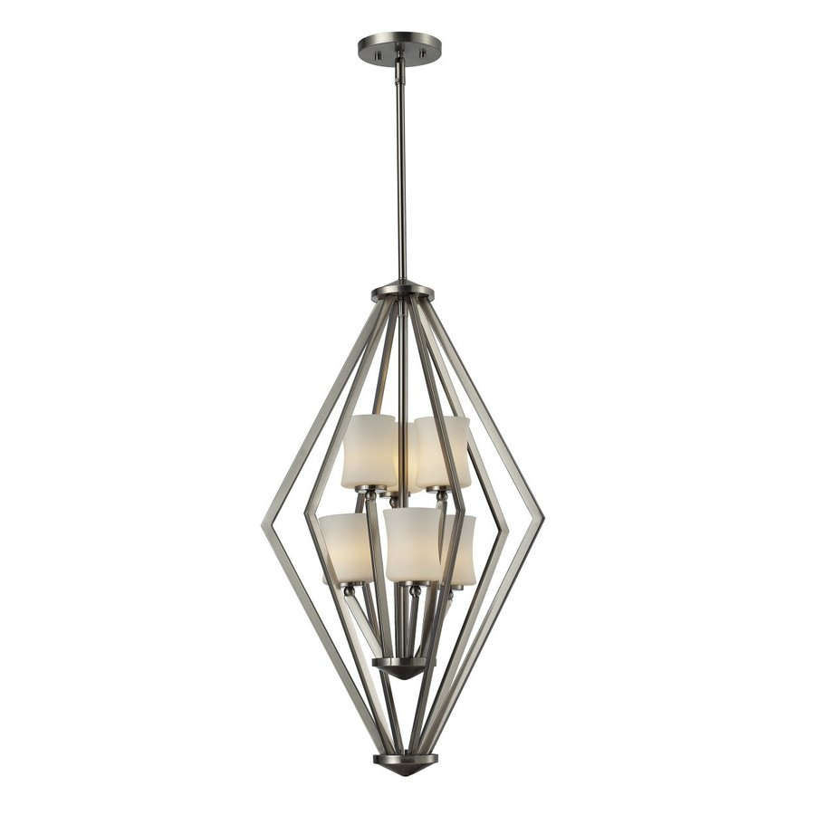 Z-Lite Elite 17-in Brushed Nickel Industrial Multi-Light Geometric Pendant