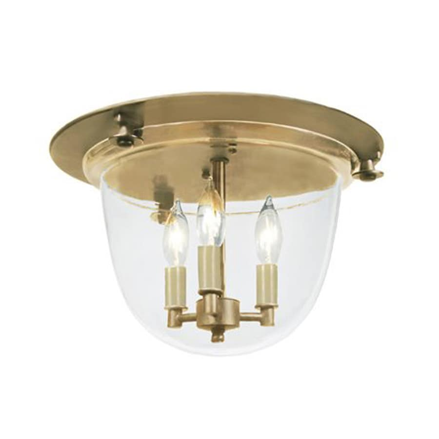 JVI Designs Mclean 14-in W Rubbed Brass Ceiling Flush Mount Light