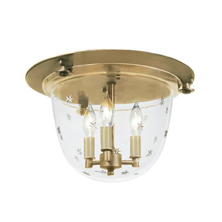 JVI Designs Mclean 14-in W Rubbed Brass Ceiling Flush Mount Light