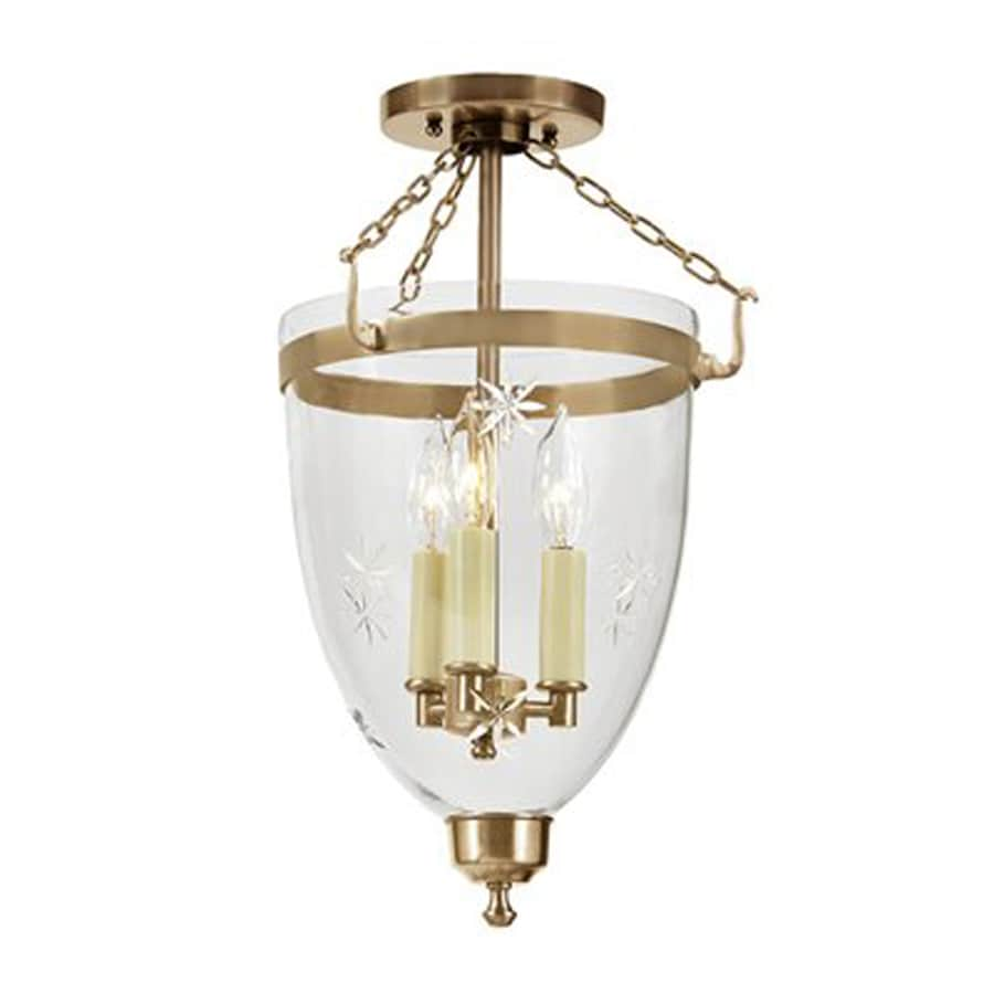 JVI Designs Danbury 11-in W Rubbed Brass Etched Glass Semi-Flush Mount Light