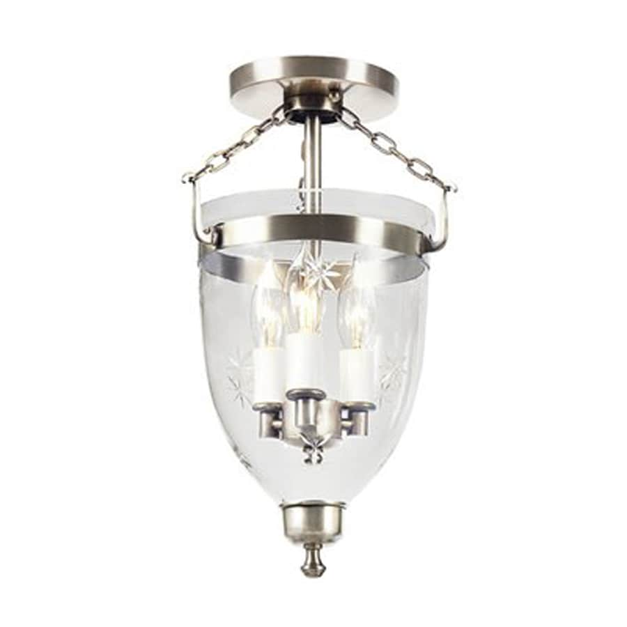 JVI Designs Danbury 9-in W Pewter Etched Glass Semi-Flush Mount Light