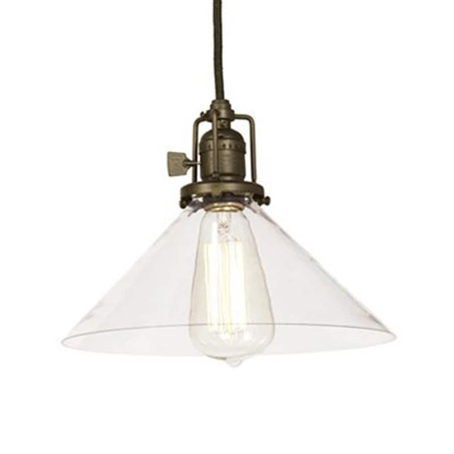 JVI Designs Union Square 10-in Oil-Rubbed Bronze Industrial Single Clear Glass Cone Pendant